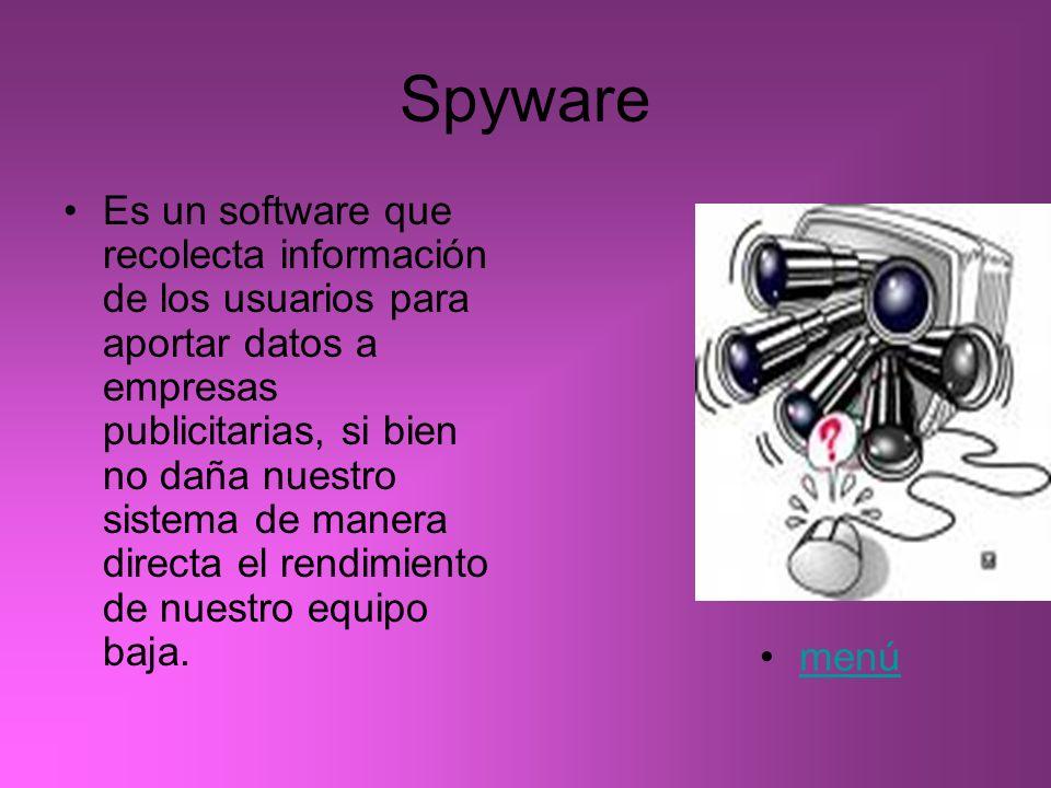 Spyware Es un software que recolecta información de los usuarios para aportar datos a empresas publicitarias, si bien no daña nuestro sistema de maner