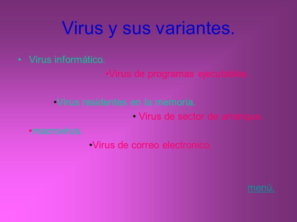 Virus y sus variantes. Virus informático. Virus de programas ejecutables. Virus residentes en la memoria. Virus de sector de arranque. macrovirus. Vir
