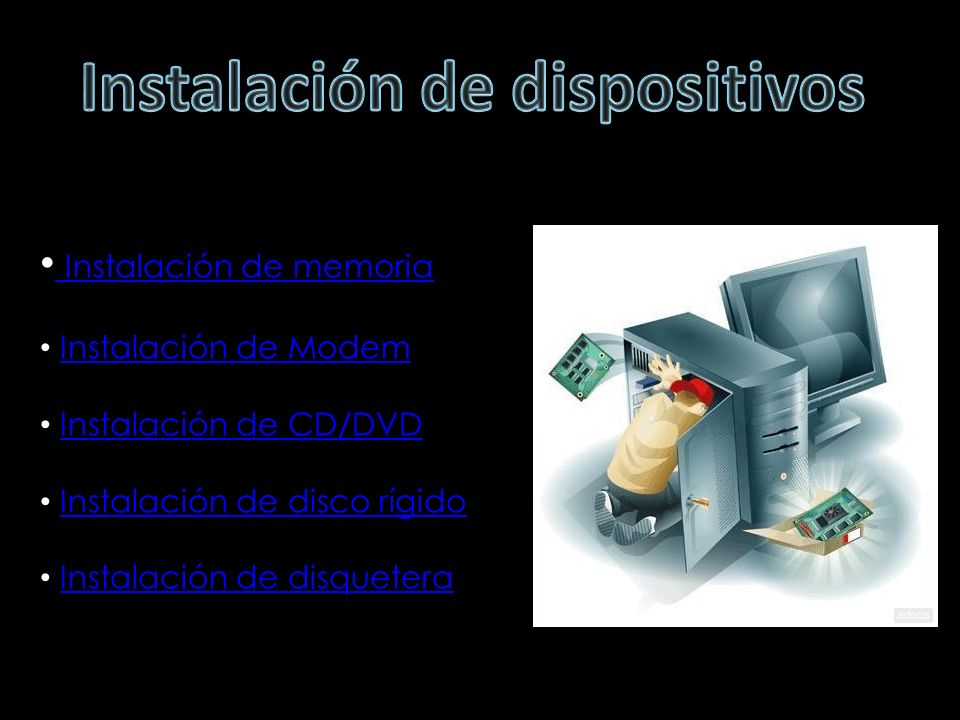 Volver al menú principal Siguiente La disquetera es uno de los elementos más sencillos de montar en el gabinete de las PC, sin que implique ningún riesgo su instalación.