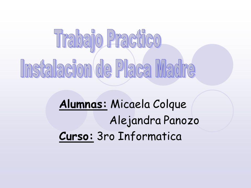 Alumnas: Micaela Colque Alejandra Panozo Curso: 3ro Informatica