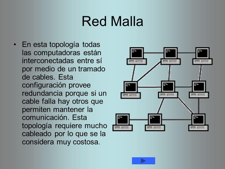 Red Malla En esta topología todas las computadoras están interconectadas entre sí por medio de un tramado de cables. Esta configuración provee redunda