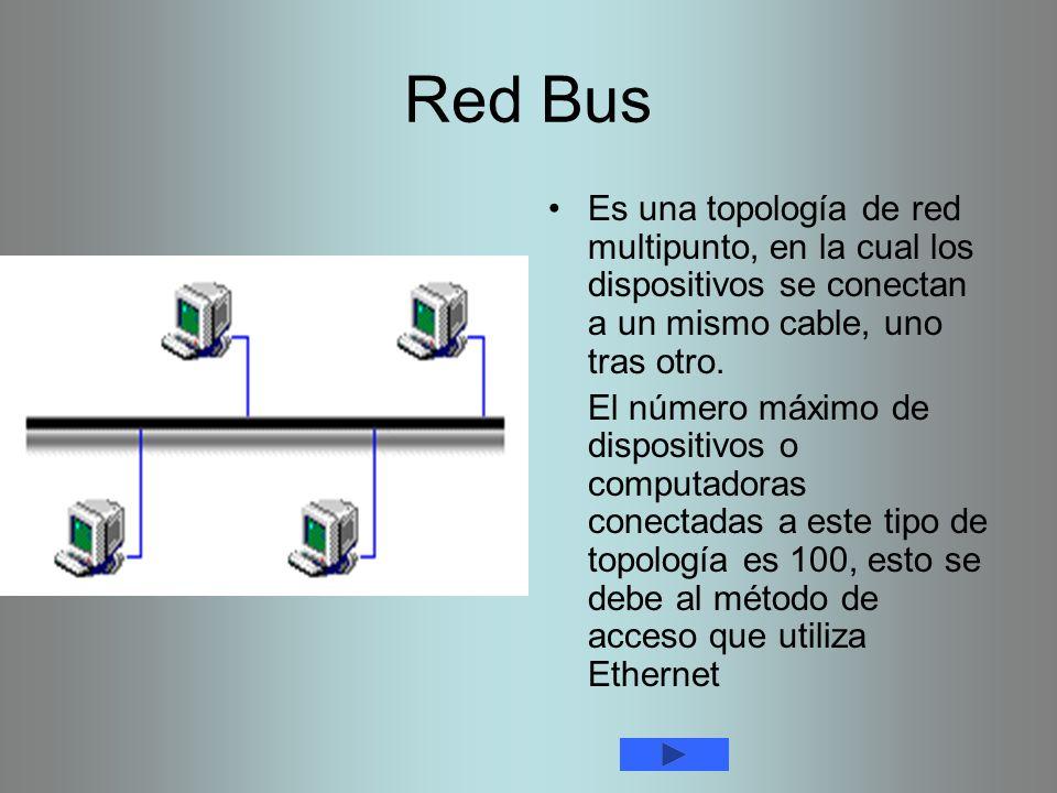 Red Bus Es una topología de red multipunto, en la cual los dispositivos se conectan a un mismo cable, uno tras otro. El número máximo de dispositivos
