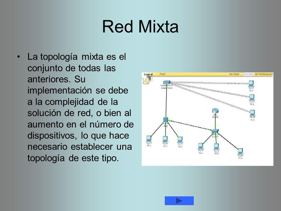Red Mixta La topología mixta es el conjunto de todas las anteriores. Su implementación se debe a la complejidad de la solución de red, o bien al aumen