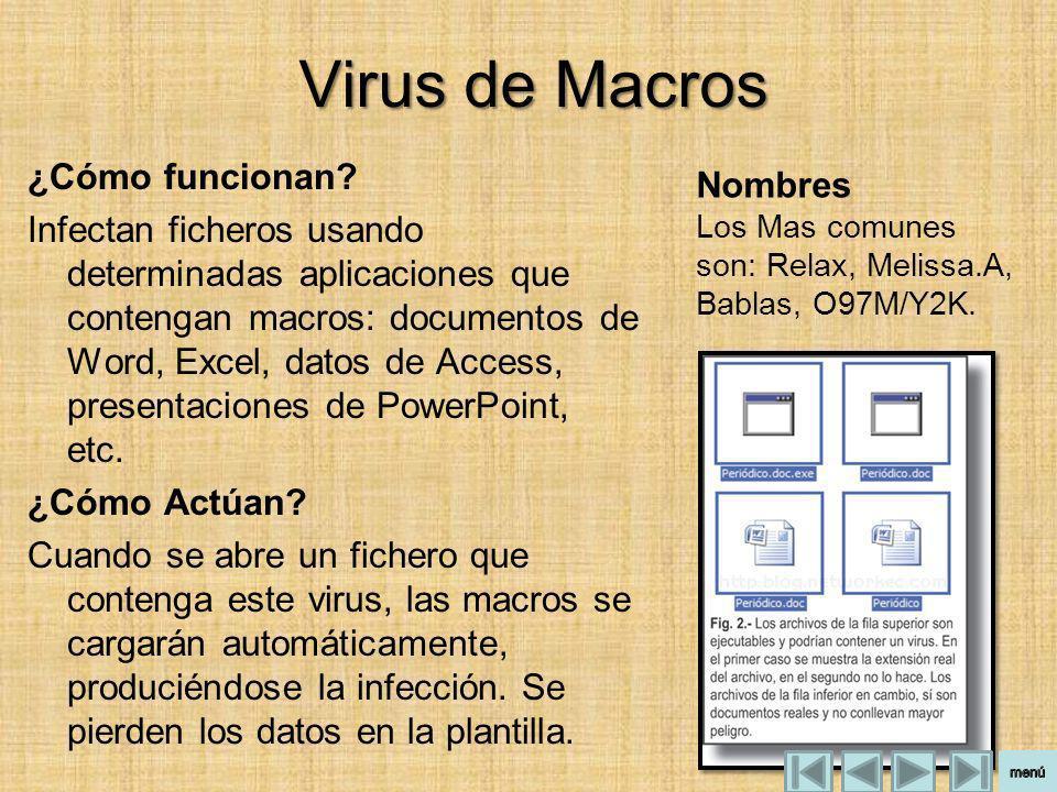 Virus de Macros ¿Cómo funcionan? Infectan ficheros usando determinadas aplicaciones que contengan macros: documentos de Word, Excel, datos de Access,