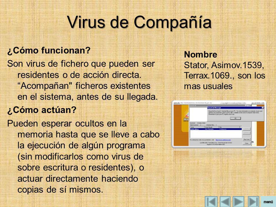 Virus de Compañía ¿Cómo funcionan? Son virus de fichero que pueden ser residentes o de acción directa. Acompañan