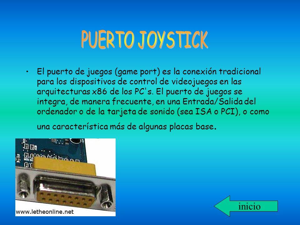 El puerto de juegos (game port) es la conexión tradicional para los dispositivos de control de videojuegos en las arquitecturas x86 de los PC's. El pu