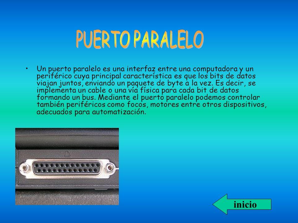 Un puerto paralelo es una interfaz entre una computadora y un periférico cuya principal característica es que los bits de datos viajan juntos, enviand