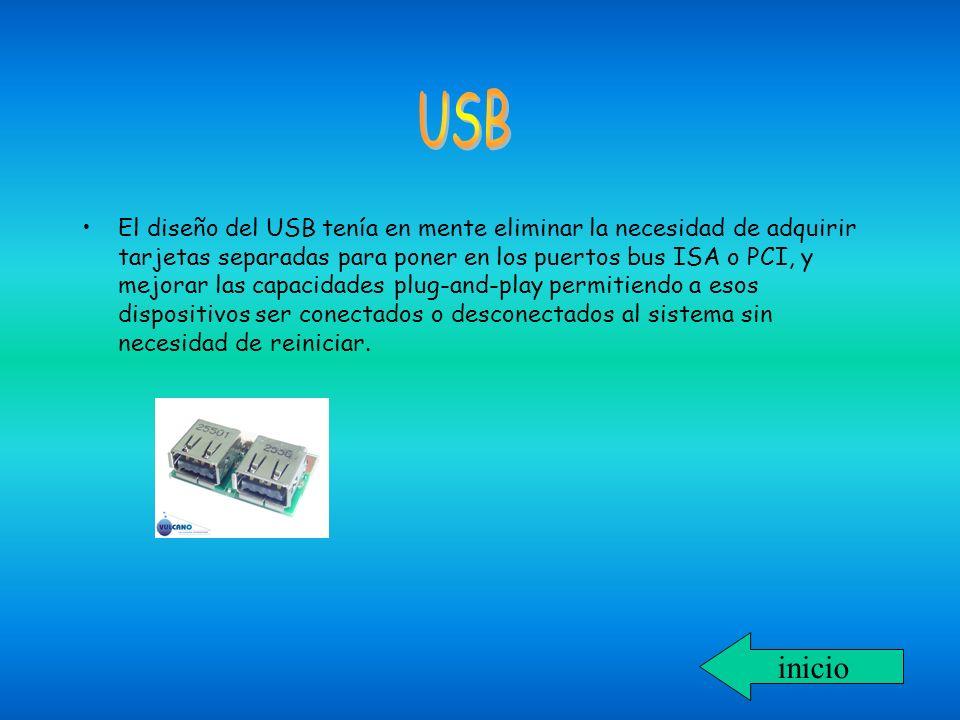 El diseño del USB tenía en mente eliminar la necesidad de adquirir tarjetas separadas para poner en los puertos bus ISA o PCI, y mejorar las capacidad