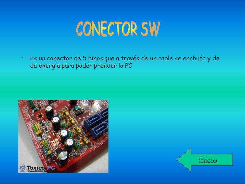 Es un conector de 5 pinos que a través de un cable se enchufa y de da energía para poder prender la PC inicio