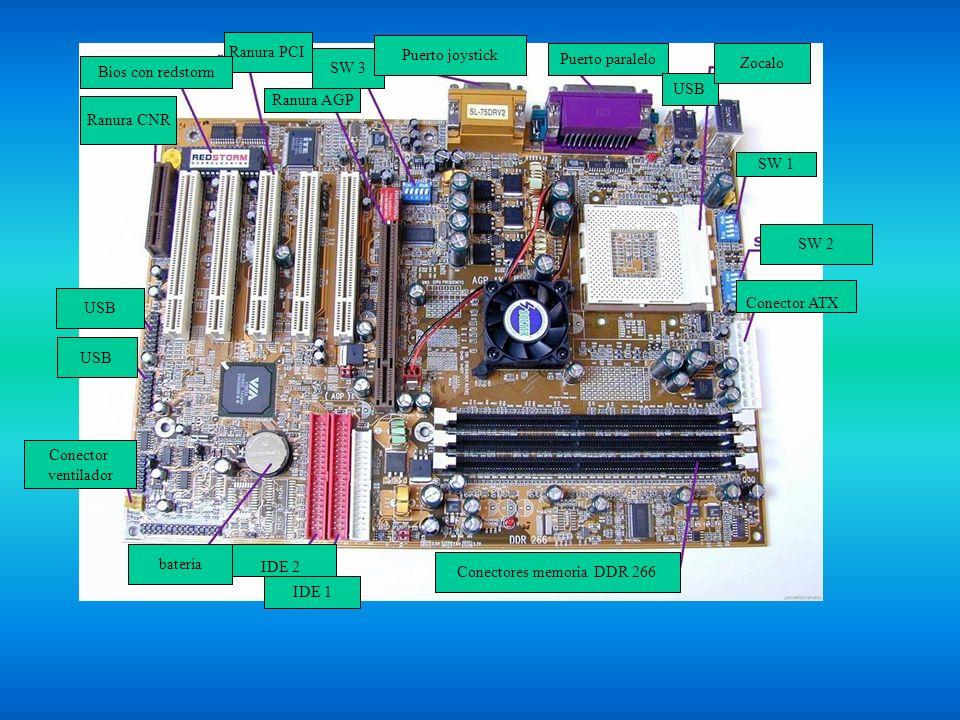 Ranura PCI USB Conector ventilador batería IDE 1 IDE 2 Conectores memoria DDR 266 Conector ATX SW 2 Ranura CNR Bios con redstorm Ranura AGP SW 3 Puert