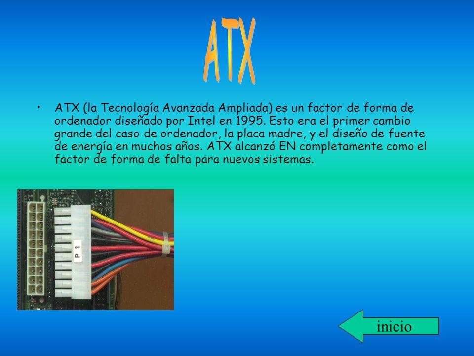 ATX (la Tecnología Avanzada Ampliada) es un factor de forma de ordenador diseñado por Intel en 1995. Esto era el primer cambio grande del caso de orde