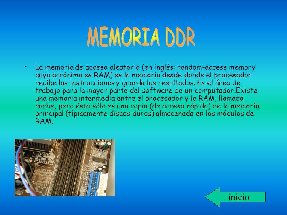 La memoria de acceso aleatorio (en inglés: random-access memory cuyo acrónimo es RAM) es la memoria desde donde el procesador recibe las instrucciones