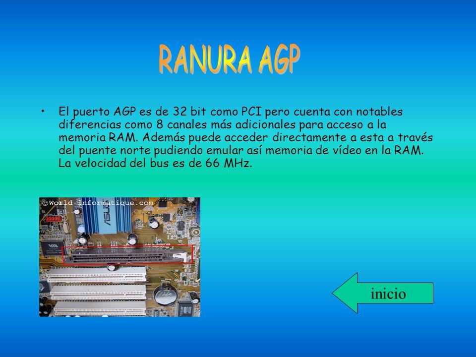 El puerto AGP es de 32 bit como PCI pero cuenta con notables diferencias como 8 canales más adicionales para acceso a la memoria RAM. Además puede acc