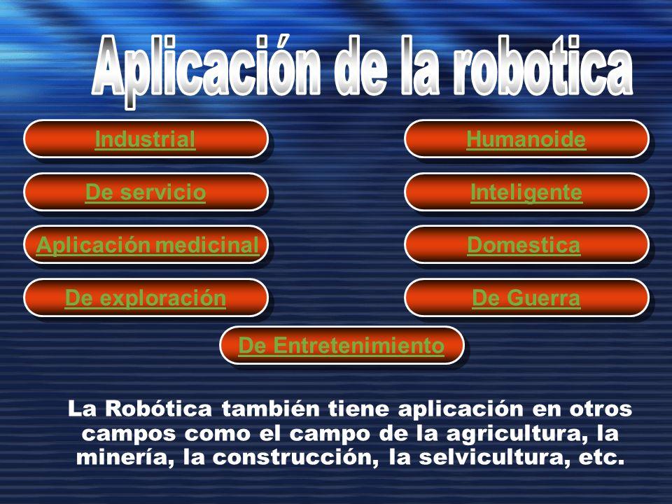 Industrial La Robótica también tiene aplicación en otros campos como el campo de la agricultura, la minería, la construcción, la selvicultura, etc. De