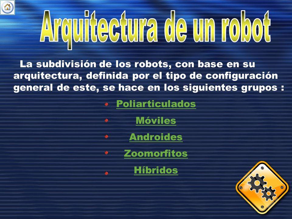 La subdivisión de los robots, con base en su arquitectura, definida por el tipo de configuración general de este, se hace en los siguientes grupos : P