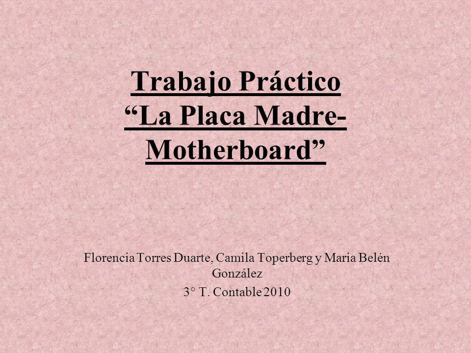 Trabajo Práctico La Placa Madre- Motherboard Florencia Torres Duarte, Camila Toperberg y Maria Belén González 3° T. Contable 2010