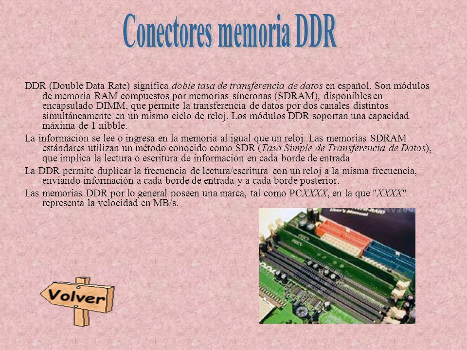 DDR (Double Data Rate) significa doble tasa de transferencia de datos en español. Son módulos de memoria RAM compuestos por memorias síncronas (SDRAM)