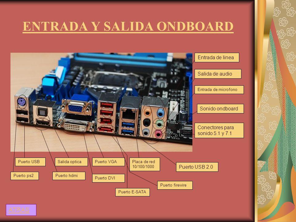 ENTRADA Y SALIDA ONDBOARD Entrada de linea Salida de audio Entrada de microfono Sonido ondboard Conectores para sonido 5.1 y 7.1 Puerto ps2 Puerto USB