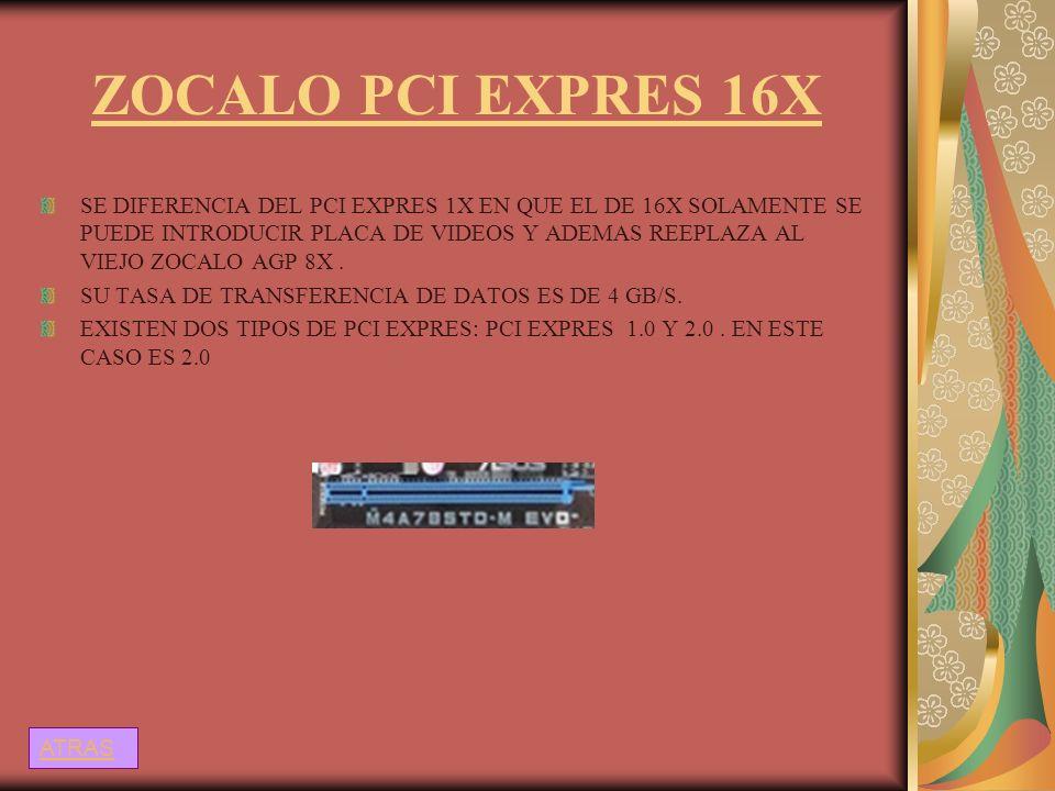 ZOCALO PCI EXPRES 16X SE DIFERENCIA DEL PCI EXPRES 1X EN QUE EL DE 16X SOLAMENTE SE PUEDE INTRODUCIR PLACA DE VIDEOS Y ADEMAS REEPLAZA AL VIEJO ZOCALO