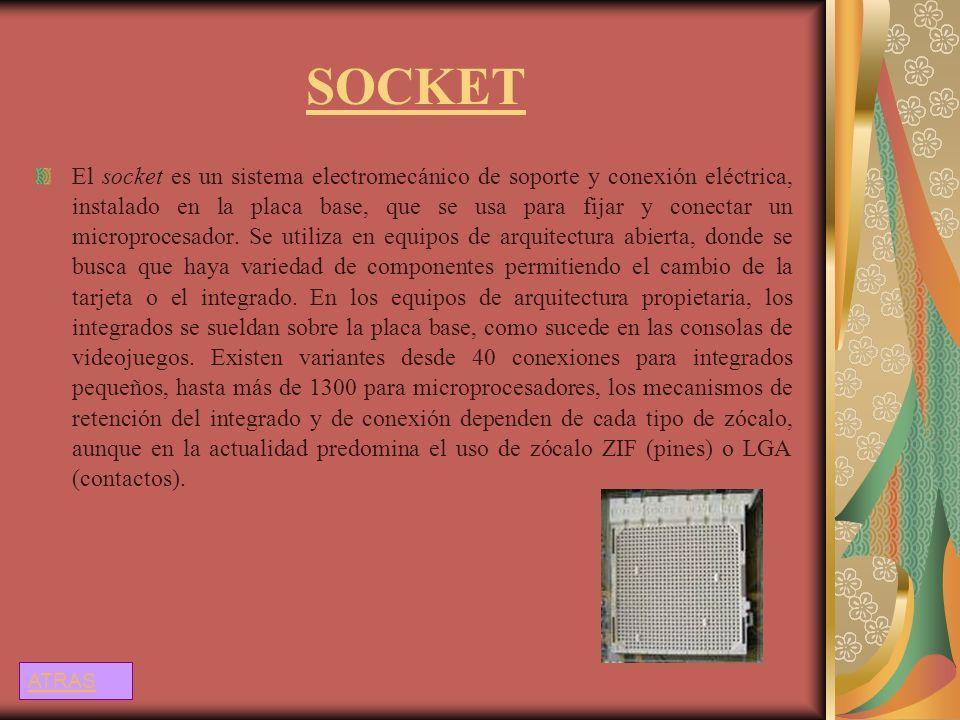 SOCKET El socket es un sistema electromecánico de soporte y conexión eléctrica, instalado en la placa base, que se usa para fijar y conectar un microp