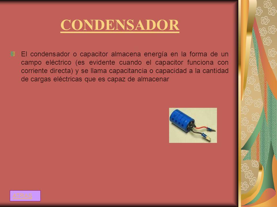 CONDENSADOR El condensador o capacitor almacena energía en la forma de un campo eléctrico (es evidente cuando el capacitor funciona con corriente dire