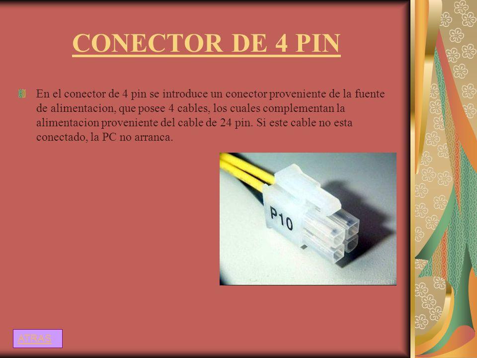 CONECTOR DE 4 PIN En el conector de 4 pin se introduce un conector proveniente de la fuente de alimentacion, que posee 4 cables, los cuales complement