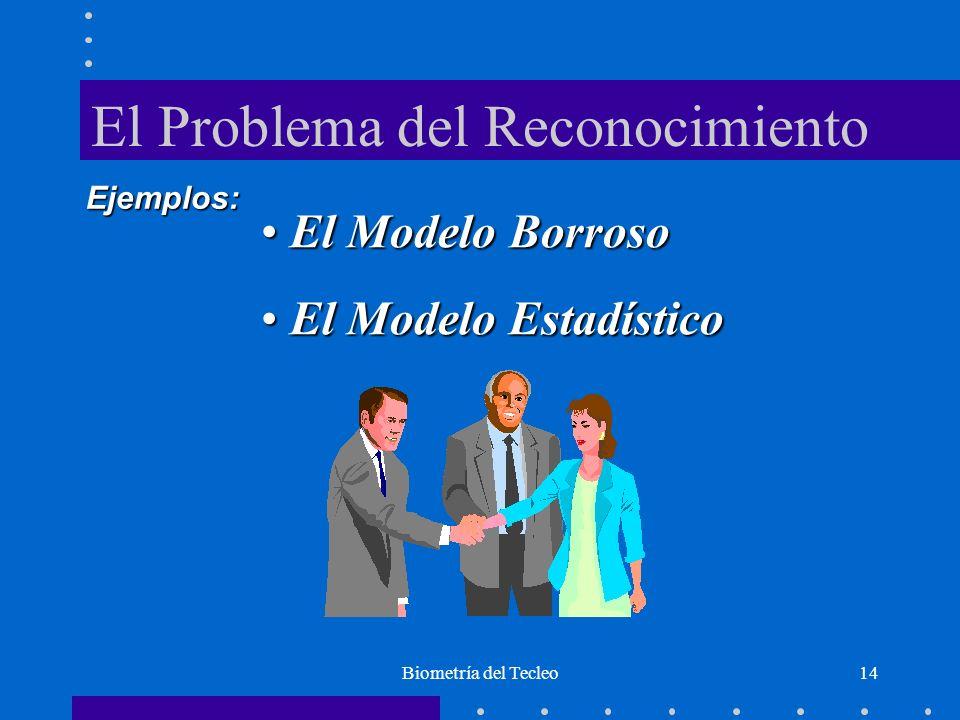 Biometría del Tecleo14 El Problema del Reconocimiento El Modelo Borroso El Modelo Borroso El Modelo Estadístico El Modelo Estadístico Ejemplos: