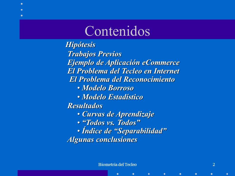 Biometría del Tecleo2 Contenidos Hipótesis Trabajos Previos Trabajos Previos Ejemplo de Aplicación eCommerce Ejemplo de Aplicación eCommerce El Proble