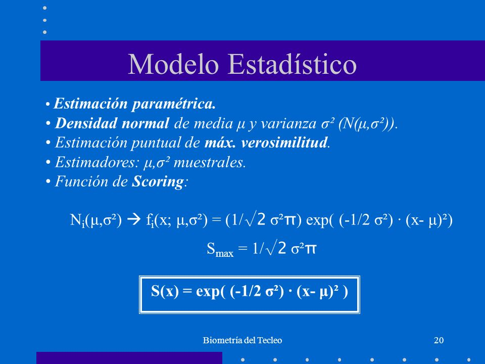 Biometría del Tecleo20 Modelo Estadístico Estimación paramétrica. Densidad normal de media μ y varianza σ² (N(μ,σ²)). Estimación puntual de máx. veros