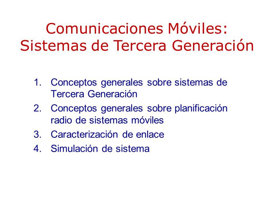 CARACTERÍSTICAS DE LOS SISTEMAS CDMA Control de potencia –Bucle abierto –Bucle cerrado o interno –Bucle externo Actividad discontinua de fuente Compartición automática de carga Multiplexación de servicios –Códigos ortogonales (canalización) para señales de un mismo móvil.