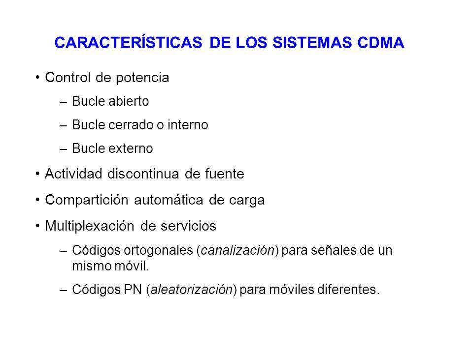 CARACTERÍSTICAS DE LOS SISTEMAS CDMA Control de potencia –Bucle abierto –Bucle cerrado o interno –Bucle externo Actividad discontinua de fuente Compar