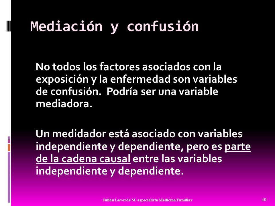 Mediación y confusión No todos los factores asociados con la exposición y la enfermedad son variables de confusión. Podría ser una variable mediadora.