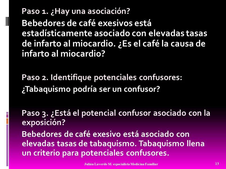 Paso 1. ¿Hay una asociación? Bebedores de café exesivos está estadísticamente asociado con elevadas tasas de infarto al miocardio. ¿Es el café la caus