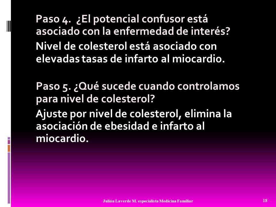 Paso 4. ¿El potencial confusor está asociado con la enfermedad de interés? Nivel de colesterol está asociado con elevadas tasas de infarto al miocardi