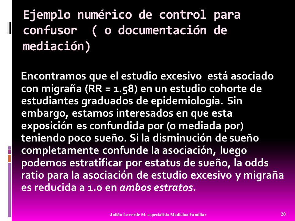 Ejemplo numérico de control para confusor ( o documentación de mediación) Encontramos que el estudio excesivo está asociado con migraña (RR = 1.58) en