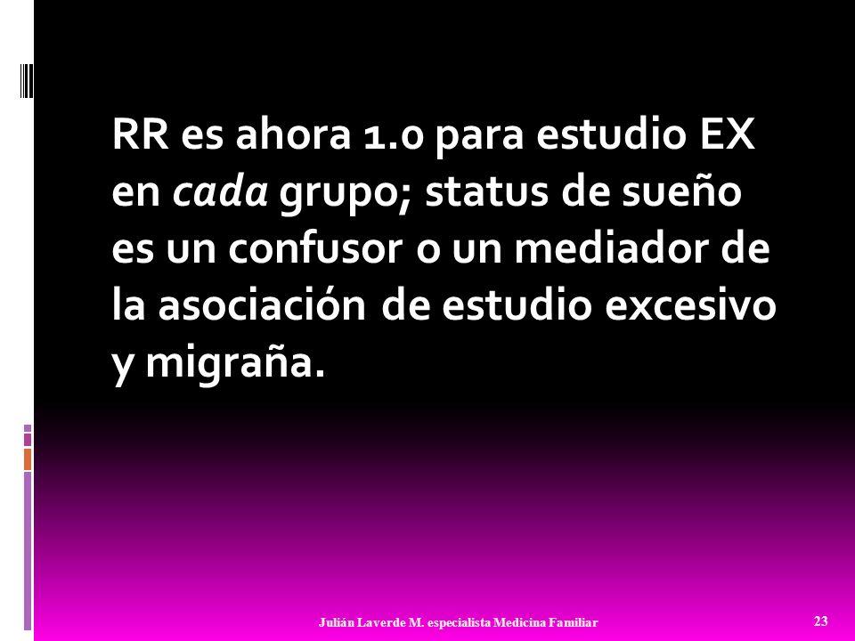 RR es ahora 1.0 para estudio EX en cada grupo; status de sueño es un confusor o un mediador de la asociación de estudio excesivo y migraña. 23 Julián