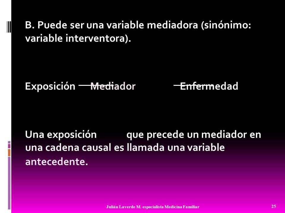B. Puede ser una variable mediadora (sinónimo: variable interventora). Exposición Mediador Enfermedad Una exposición que precede un mediador en una ca