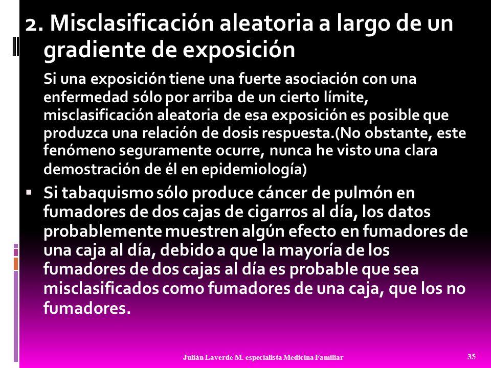 2. Misclasificación aleatoria a largo de un gradiente de exposición Si una exposición tiene una fuerte asociación con una enfermedad sólo por arriba d