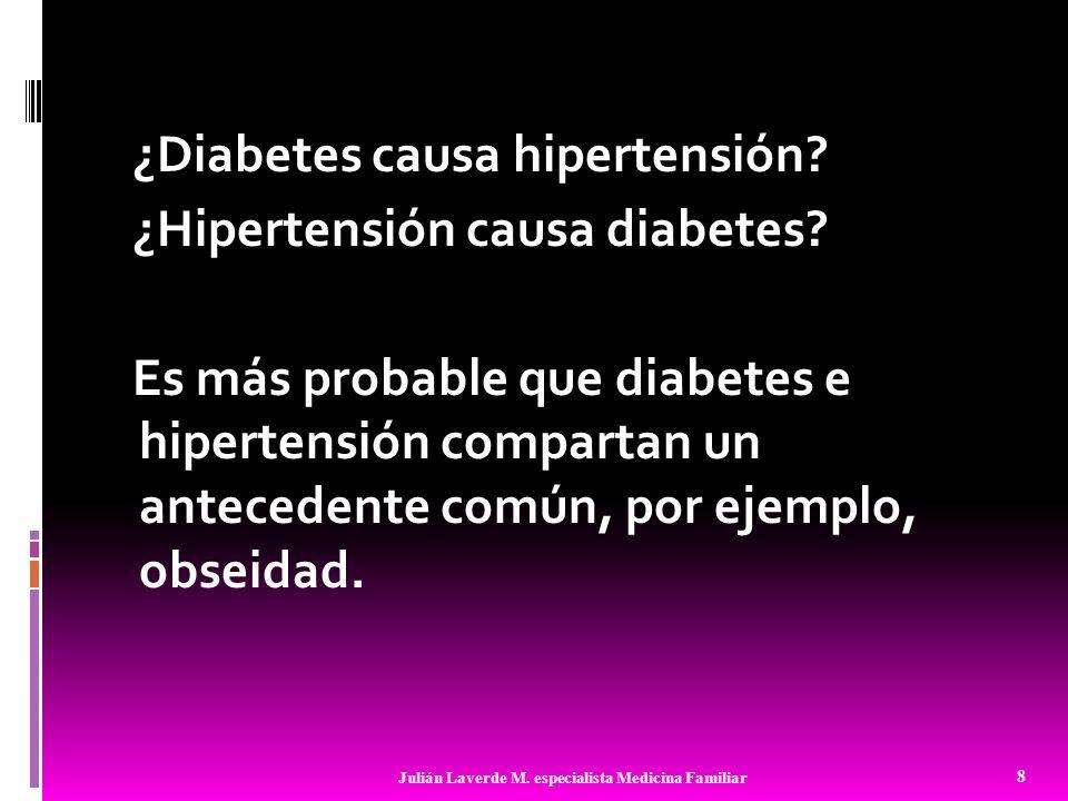 Si habíamos concluído que diabetes causó hipertensión, pero que ellos no tenían una relación causal, podríamos decir que: La relación entre hipertensión y diabetes es confundida por obesidad.
