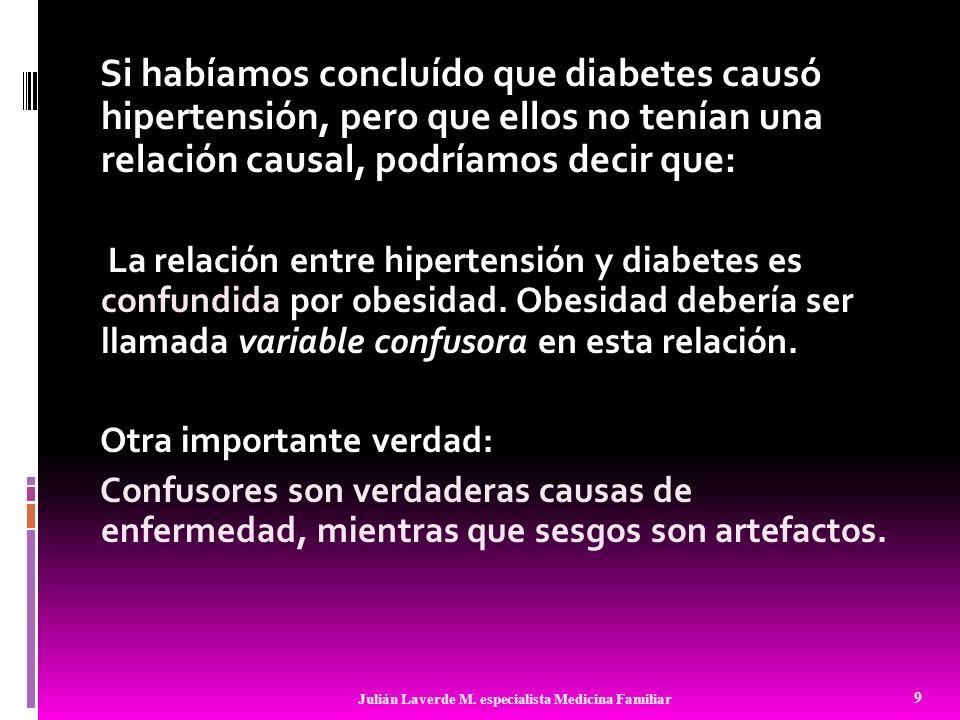 Si habíamos concluído que diabetes causó hipertensión, pero que ellos no tenían una relación causal, podríamos decir que: La relación entre hipertensi