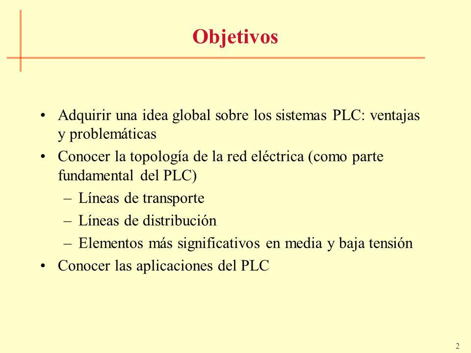 2 Objetivos Adquirir una idea global sobre los sistemas PLC: ventajas y problemáticas Conocer la topología de la red eléctrica (como parte fundamental