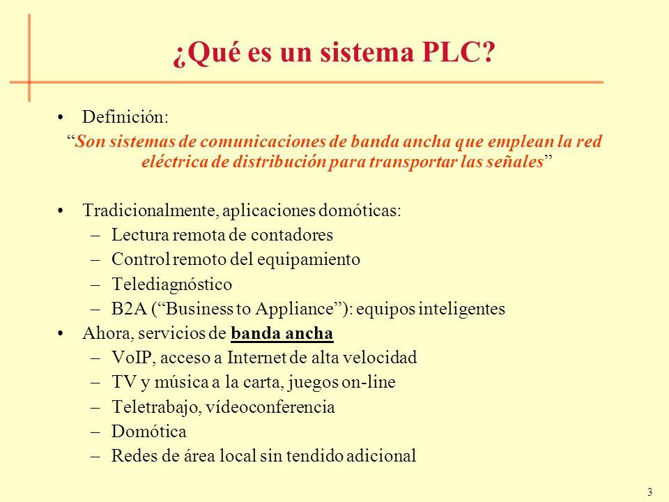 3 ¿Qué es un sistema PLC? Definición: Son sistemas de comunicaciones de banda ancha que emplean la red eléctrica de distribución para transportar las