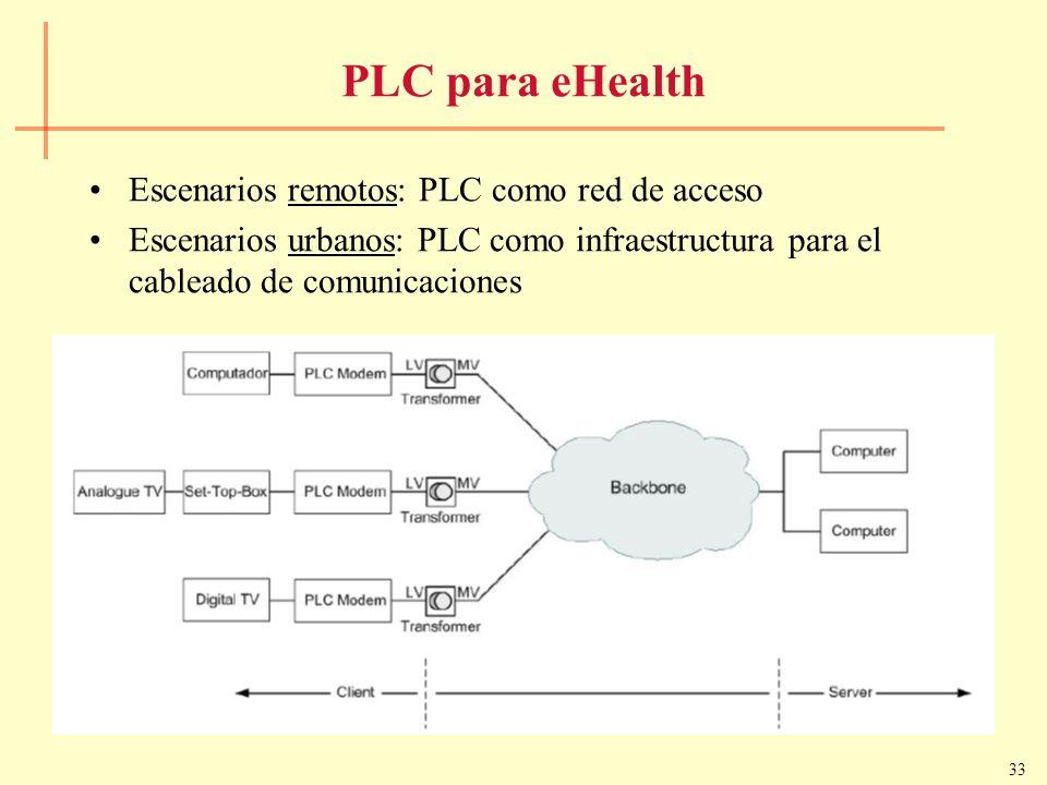 33 PLC para eHealth Escenarios remotos: PLC como red de acceso Escenarios urbanos: PLC como infraestructura para el cableado de comunicaciones