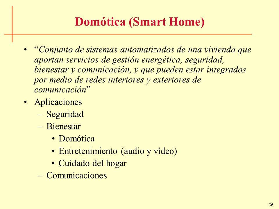 36 Domótica (Smart Home) Conjunto de sistemas automatizados de una vivienda que aportan servicios de gestión energética, seguridad, bienestar y comuni