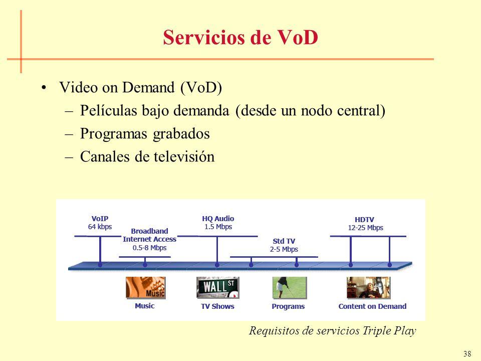 38 Servicios de VoD Video on Demand (VoD) –Películas bajo demanda (desde un nodo central) –Programas grabados –Canales de televisión Requisitos de ser