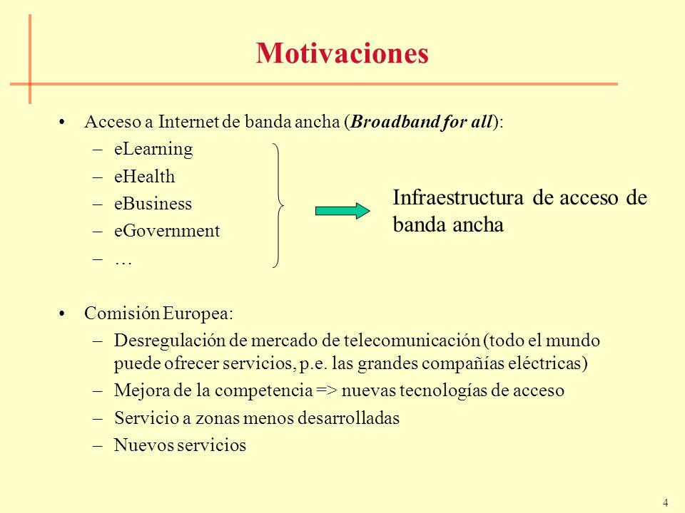 4 Motivaciones Acceso a Internet de banda ancha (Broadband for all): –eLearning –eHealth –eBusiness –eGovernment –… Comisión Europea: –Desregulación d