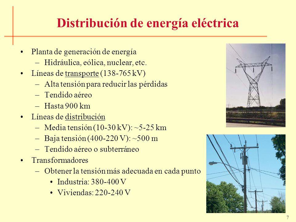7 Distribución de energía eléctrica Planta de generación de energía –Hidráulica, eólica, nuclear, etc. Líneas de transporte (138-765 kV) –Alta tensión