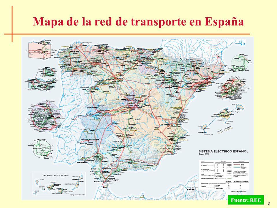 8 Mapa de la red de transporte en España Fuente: REE