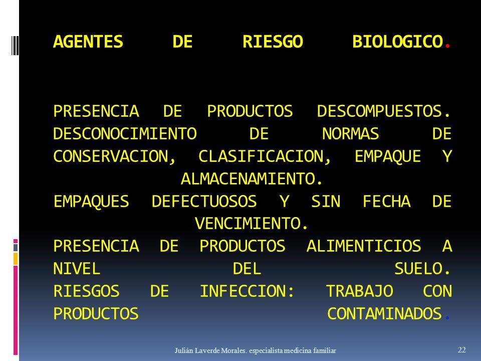 AGENTES DE RIESGO BIOLOGICO. PRESENCIA DE PRODUCTOS DESCOMPUESTOS. DESCONOCIMIENTO DE NORMAS DE CONSERVACION, CLASIFICACION, EMPAQUE Y ALMACENAMIENTO.