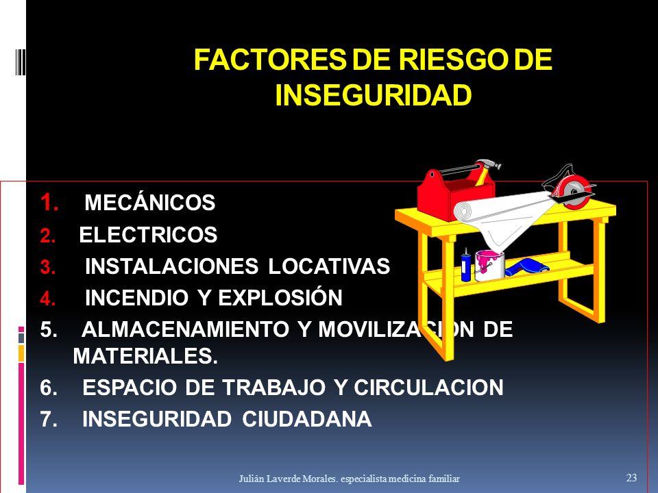 FACTORES DE RIESGO DE INSEGURIDAD 1. MECÁNICOS 2. ELECTRICOS 3. INSTALACIONES LOCATIVAS 4. INCENDIO Y EXPLOSIÓN 5. ALMACENAMIENTO Y MOVILIZACION DE MA